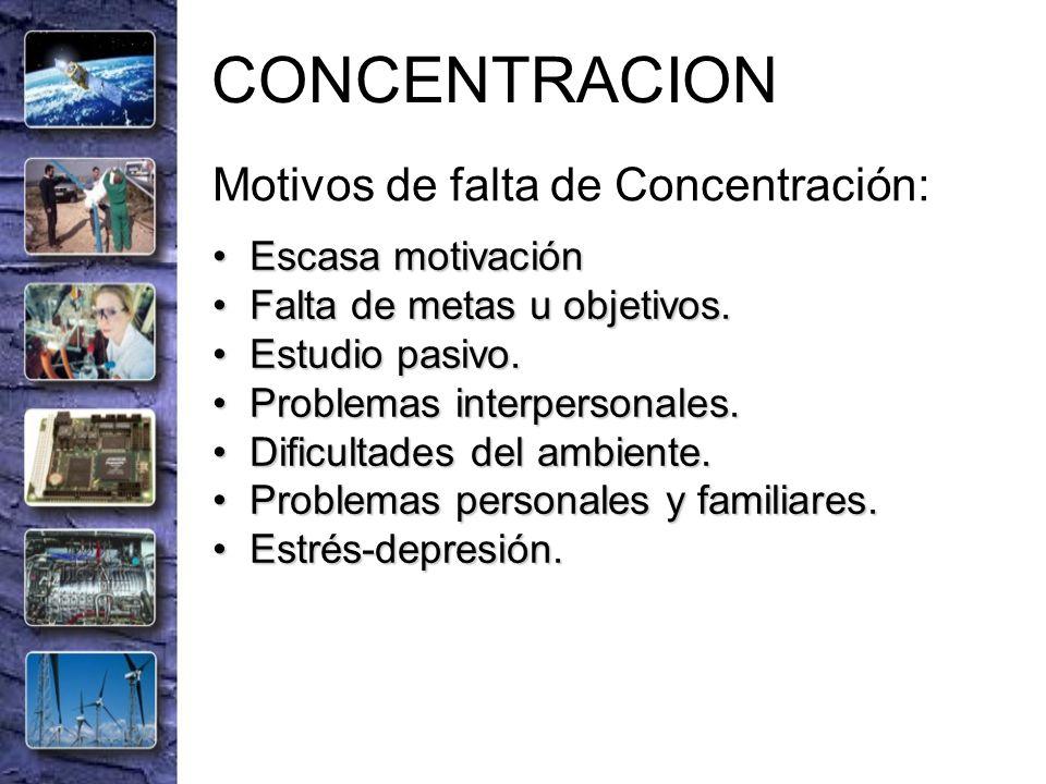 CONCENTRACION Motivos de falta de Concentración: Escasa motivación