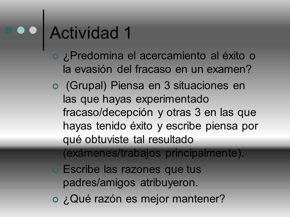 Actividad 1 ¿Predomina el acercamiento al éxito o la evasión del fracaso en un examen