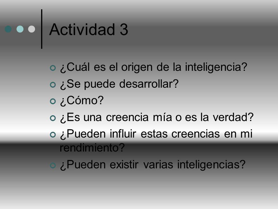 Actividad 3 ¿Cuál es el origen de la inteligencia