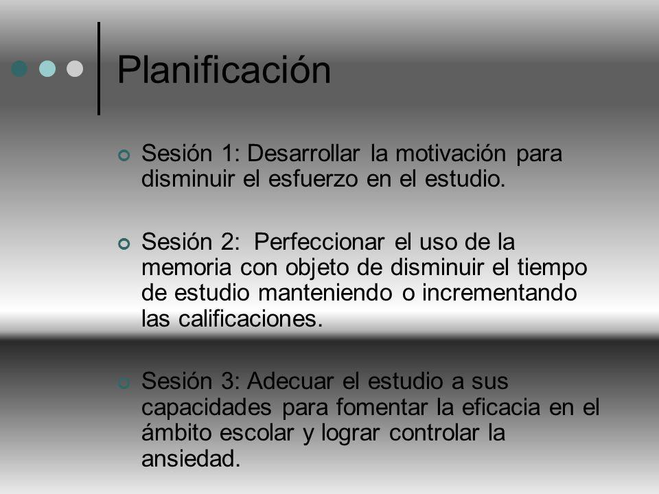 Planificación Sesión 1: Desarrollar la motivación para disminuir el esfuerzo en el estudio.