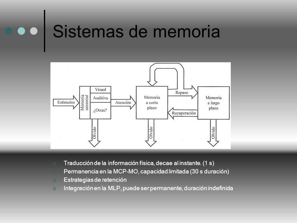 Sistemas de memoria Traducción de la información física, decae al instante. (1 s) Permanencia en la MCP-MO, capacidad limitada (30 s duración)