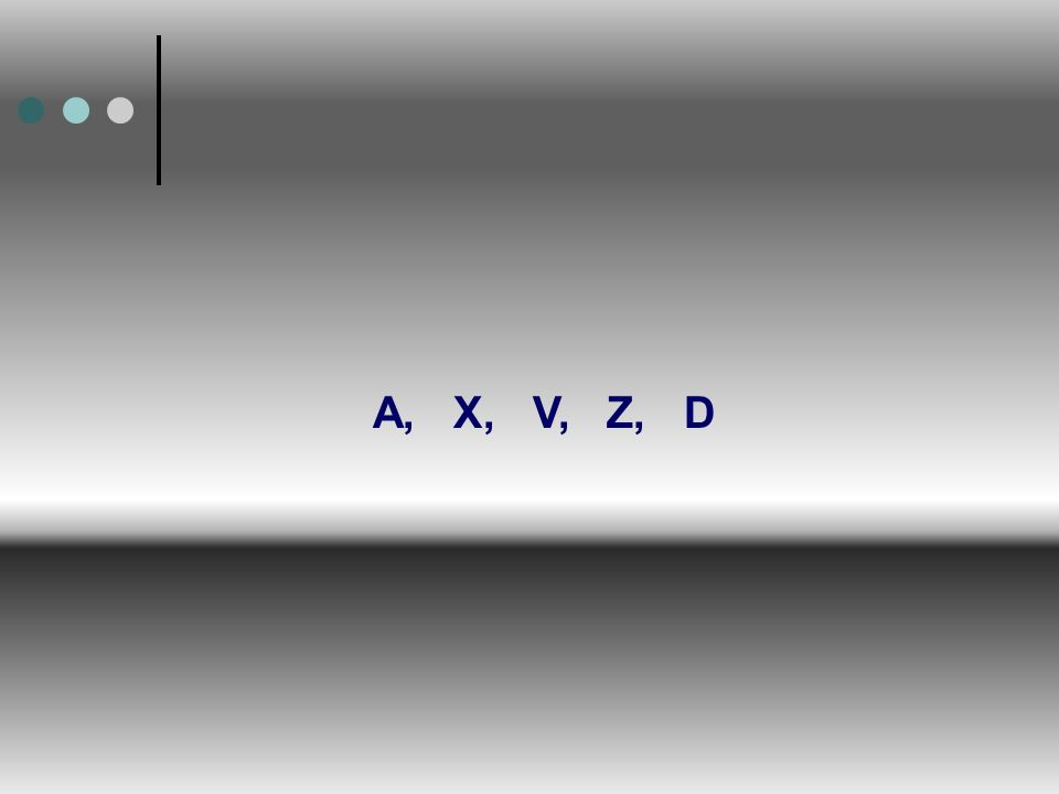 A, X, V, Z, D