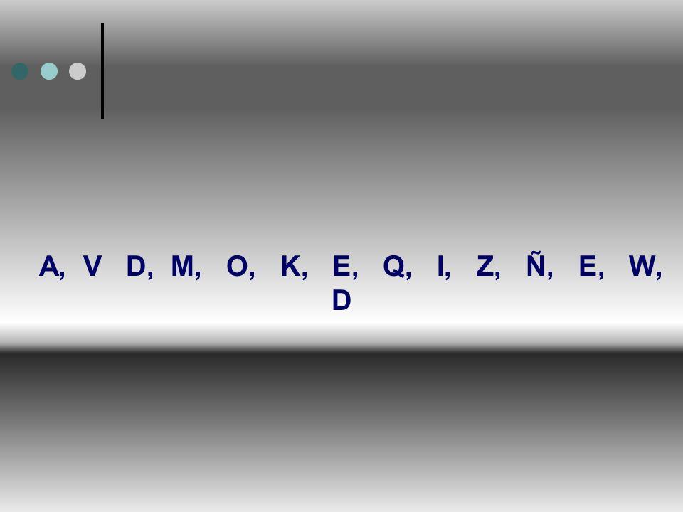A, V D, M, O, K, E, Q, I, Z, Ñ, E, W, D