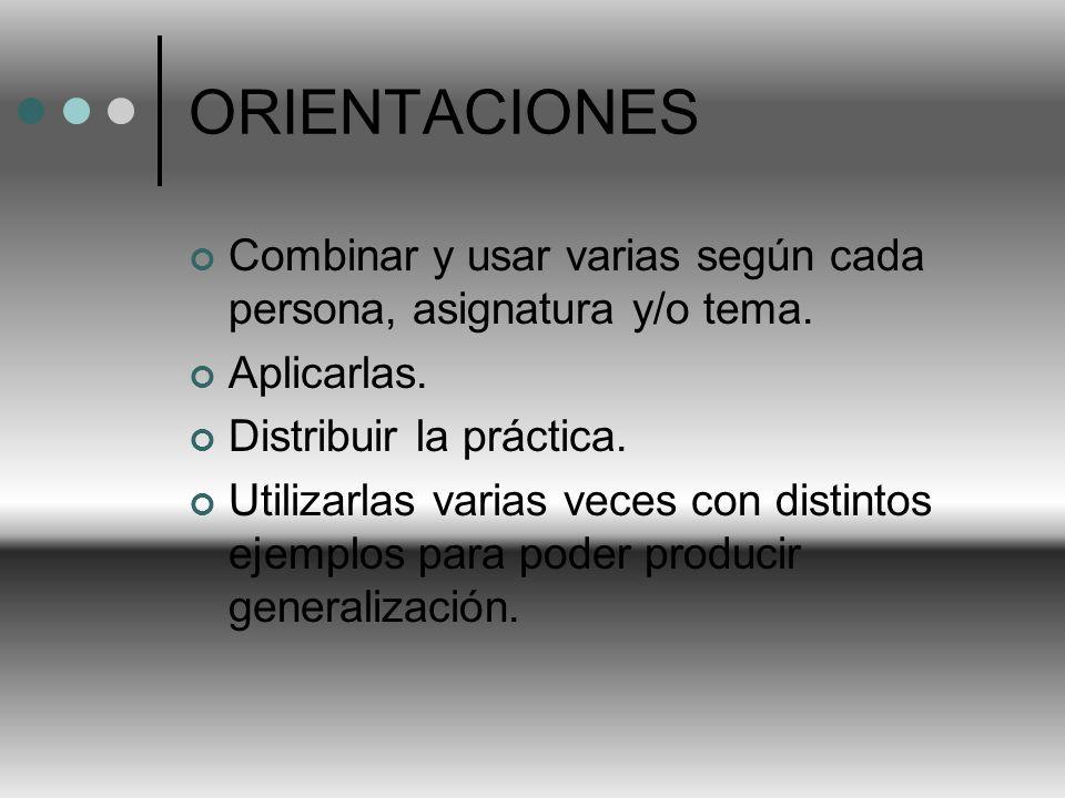 ORIENTACIONES Combinar y usar varias según cada persona, asignatura y/o tema. Aplicarlas. Distribuir la práctica.
