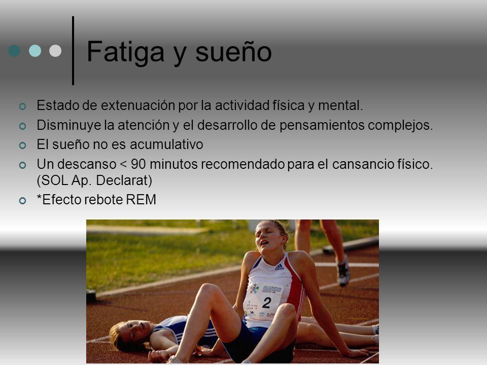 Fatiga y sueño Estado de extenuación por la actividad física y mental.