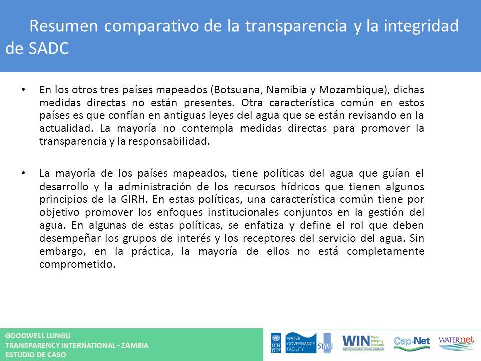 Resumen comparativo de la transparencia y la integridad de SADC