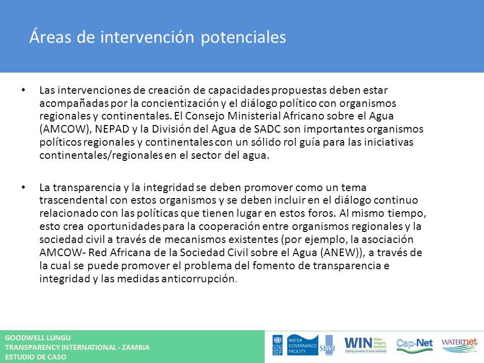 Áreas de intervención potenciales