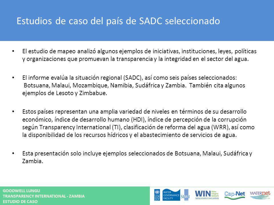 Estudios de caso del país de SADC seleccionado