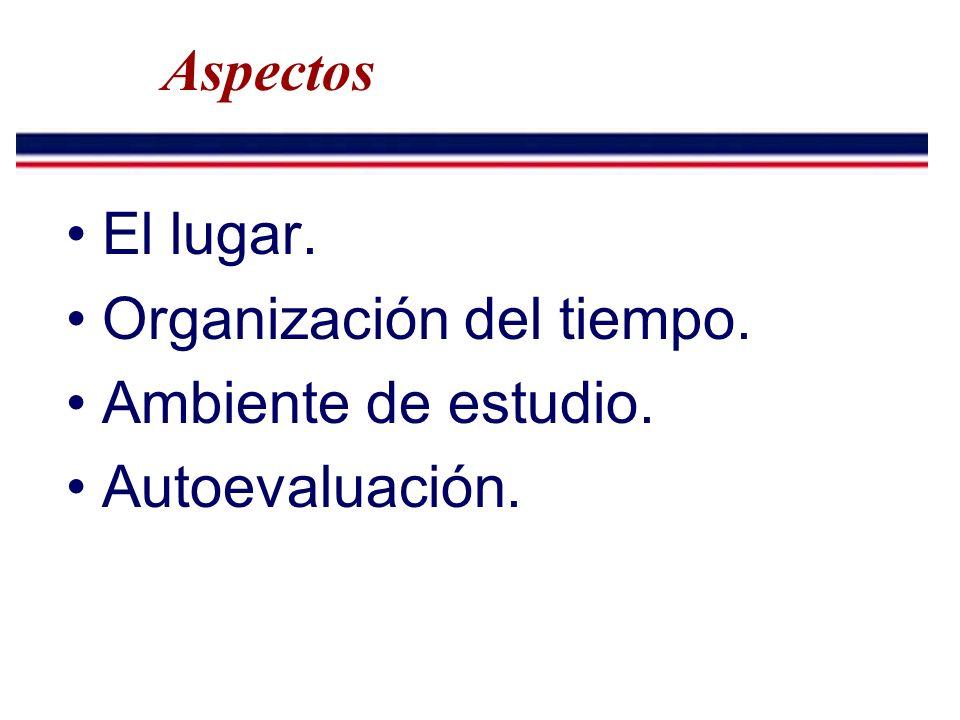 Aspectos El lugar. Organización del tiempo. Ambiente de estudio. Autoevaluación.