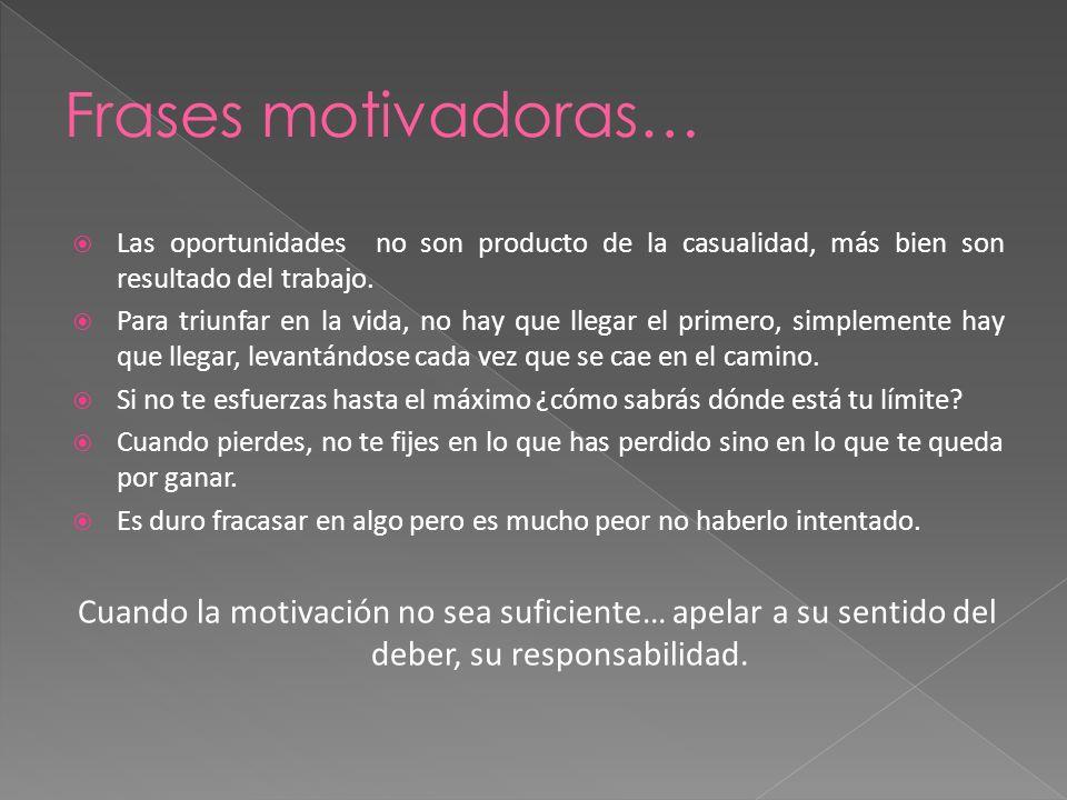 Frases motivadoras… Las oportunidades no son producto de la casualidad, más bien son resultado del trabajo.