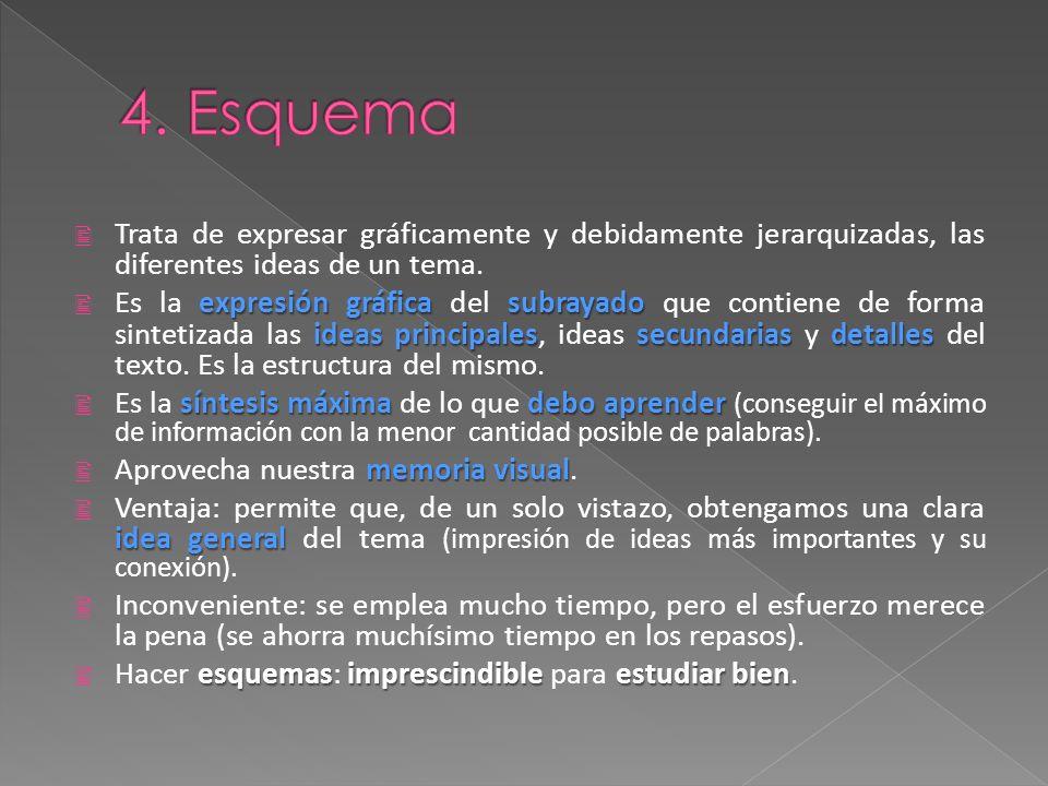 4. Esquema Trata de expresar gráficamente y debidamente jerarquizadas, las diferentes ideas de un tema.
