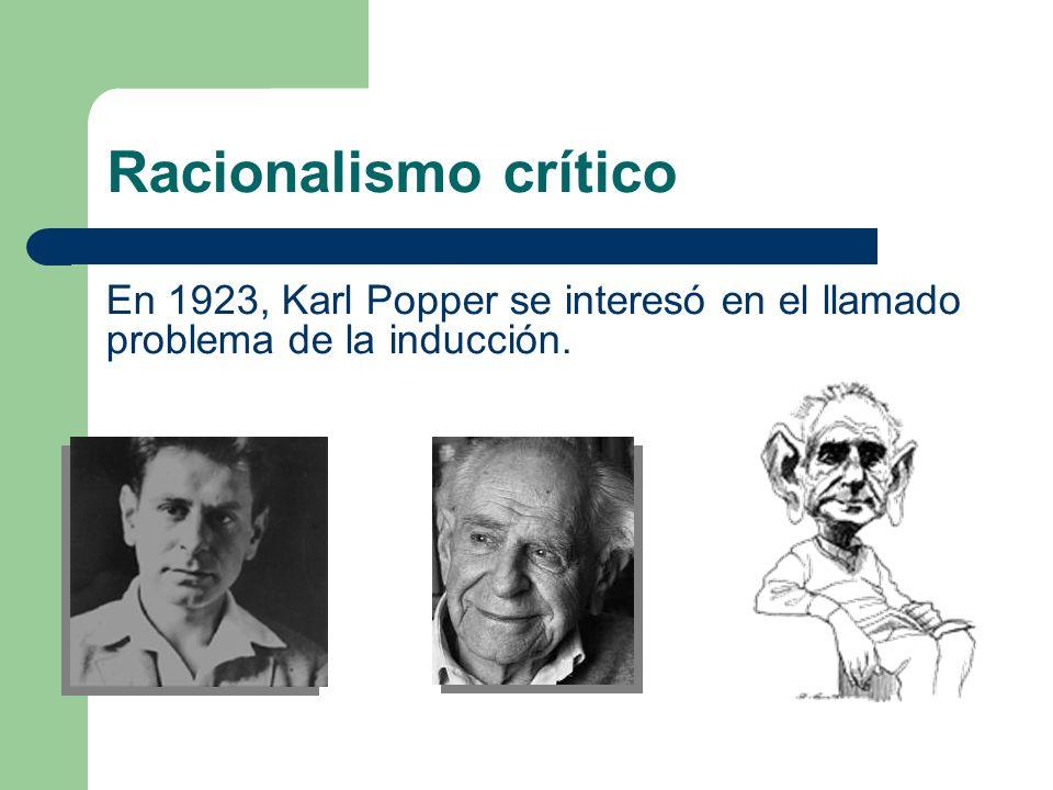 Racionalismo crítico En 1923, Karl Popper se interesó en el llamado problema de la inducción.