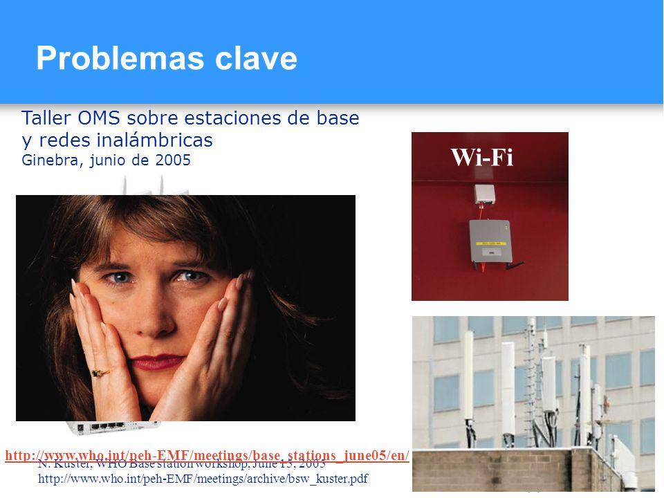 Problemas clave Taller OMS sobre estaciones de base y redes inalámbricas. Ginebra, junio de 2005.