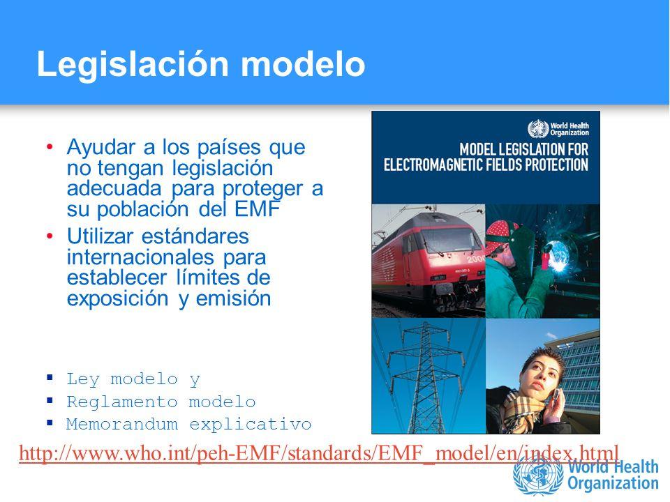 Legislación modelo Ayudar a los países que no tengan legislación adecuada para proteger a su población del EMF.