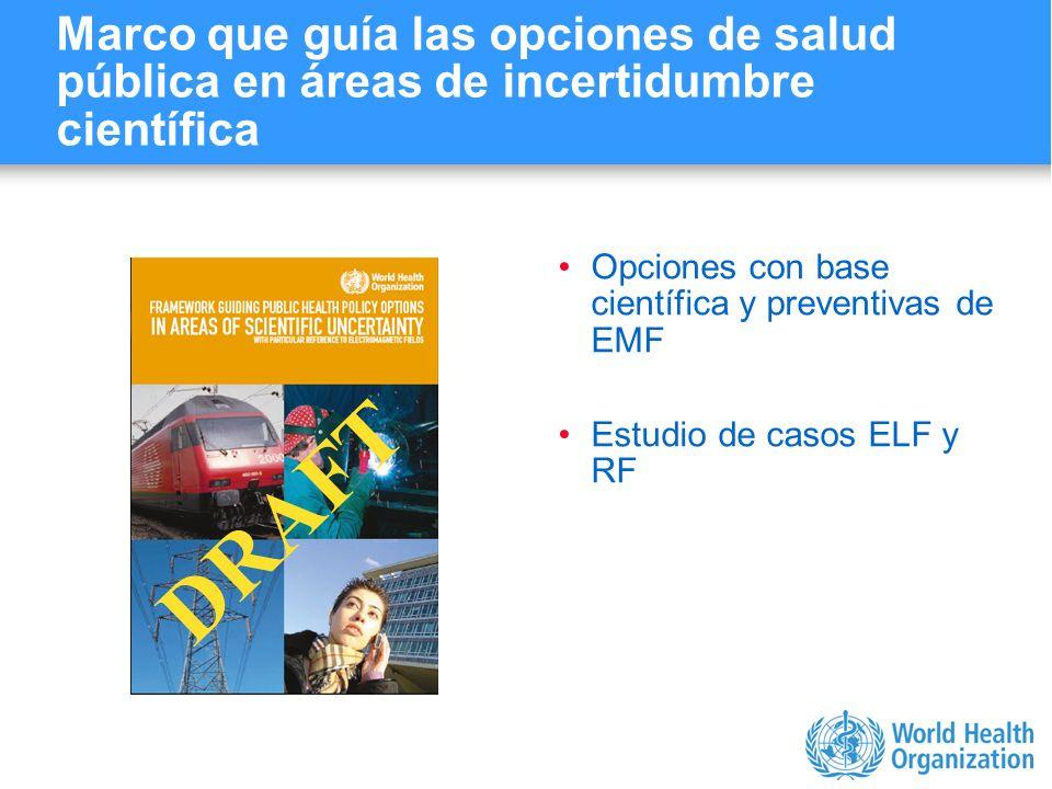 Marco que guía las opciones de salud pública en áreas de incertidumbre científica