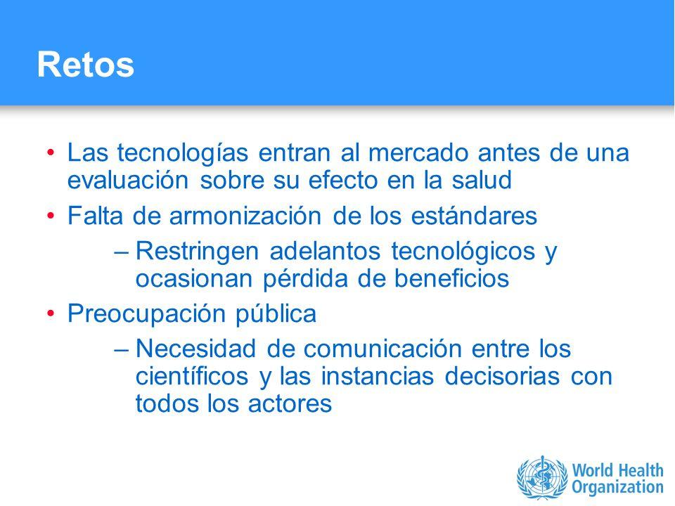 Retos Las tecnologías entran al mercado antes de una evaluación sobre su efecto en la salud. Falta de armonización de los estándares.
