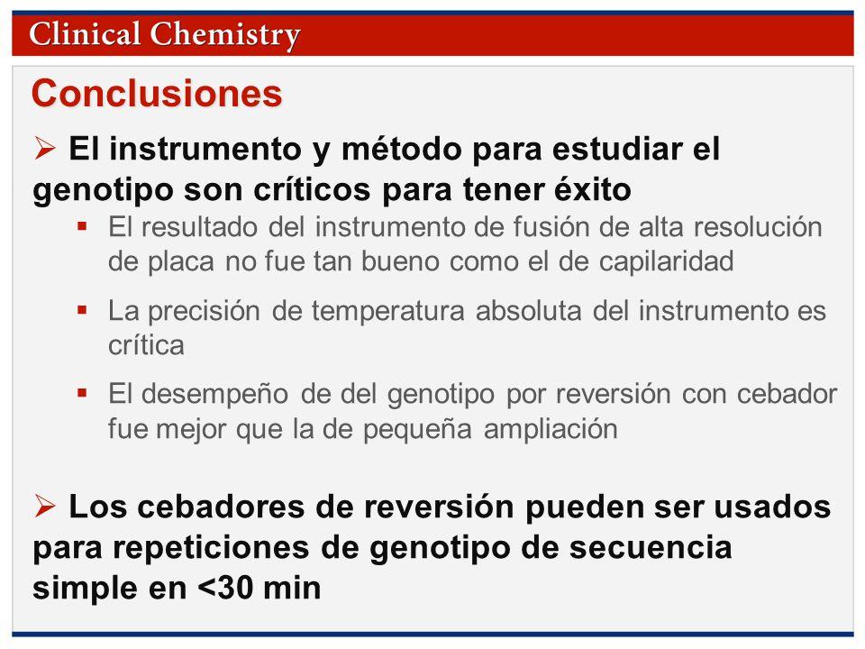 Conclusiones El instrumento y método para estudiar el genotipo son críticos para tener éxito.