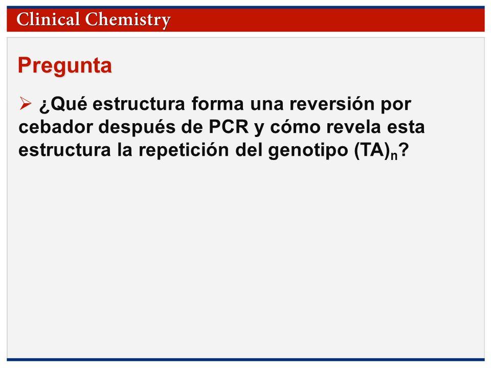 Pregunta ¿Qué estructura forma una reversión por cebador después de PCR y cómo revela esta estructura la repetición del genotipo (TA)n