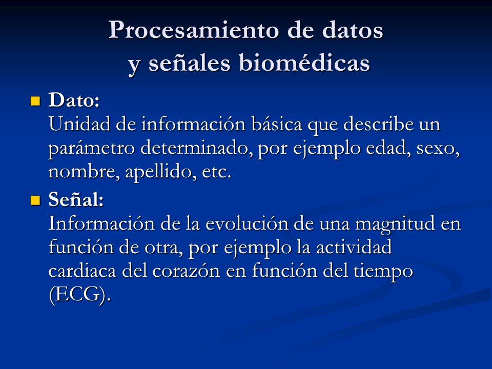 Procesamiento de datos y señales biomédicas