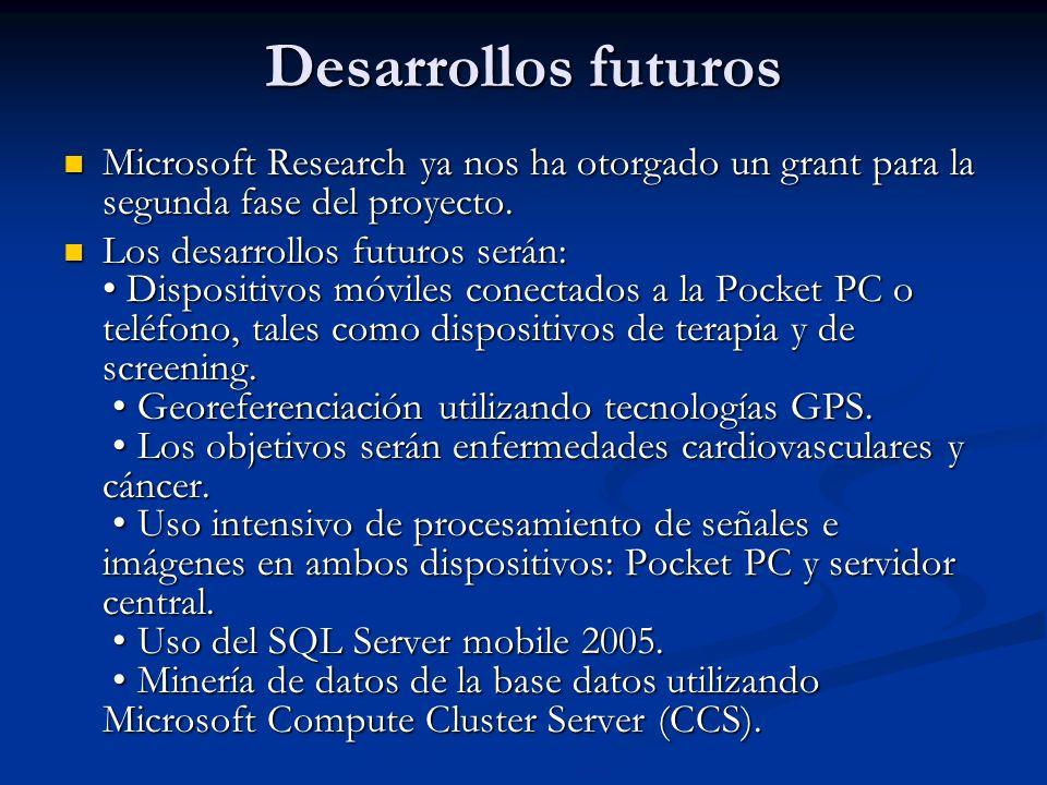 Desarrollos futuros Microsoft Research ya nos ha otorgado un grant para la segunda fase del proyecto.
