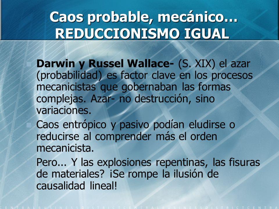 Caos probable, mecánico… REDUCCIONISMO IGUAL