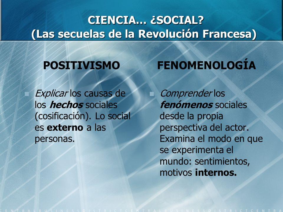 CIENCIA… ¿SOCIAL (Las secuelas de la Revolución Francesa)