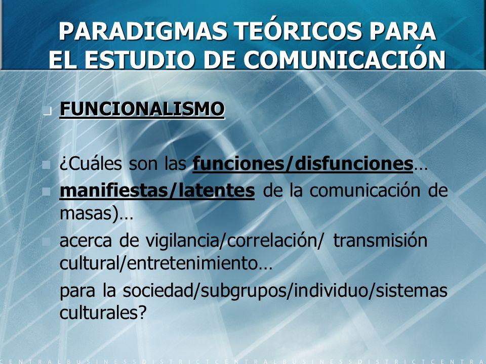 PARADIGMAS TEÓRICOS PARA EL ESTUDIO DE COMUNICACIÓN