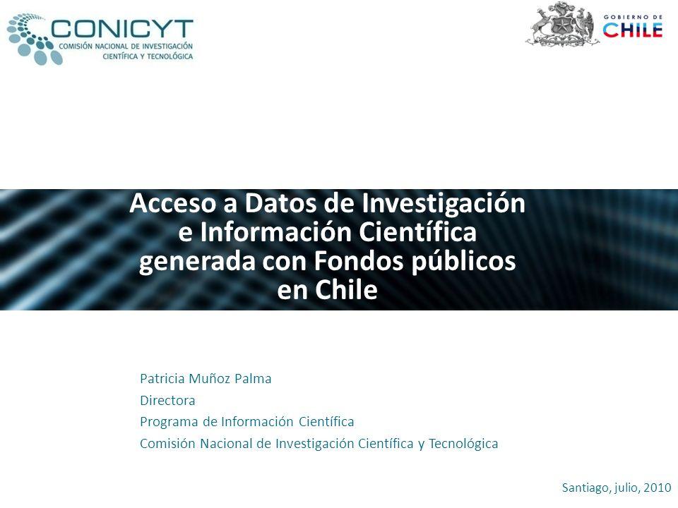 Acceso a Datos de Investigación e Información Científica generada con Fondos públicos en Chile
