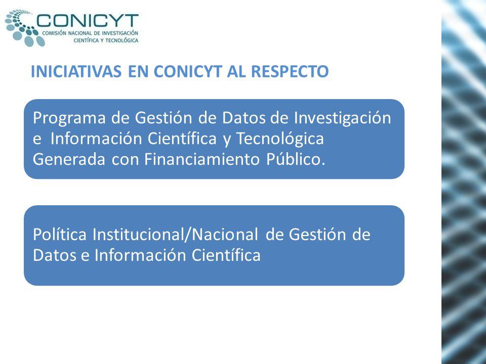 INICIATIVAS EN CONICYT AL RESPECTO