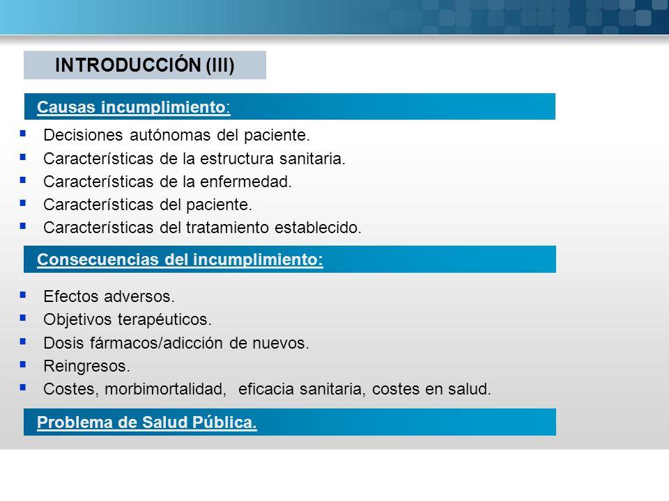 INTRODUCCIÓN (III) Causas incumplimiento: