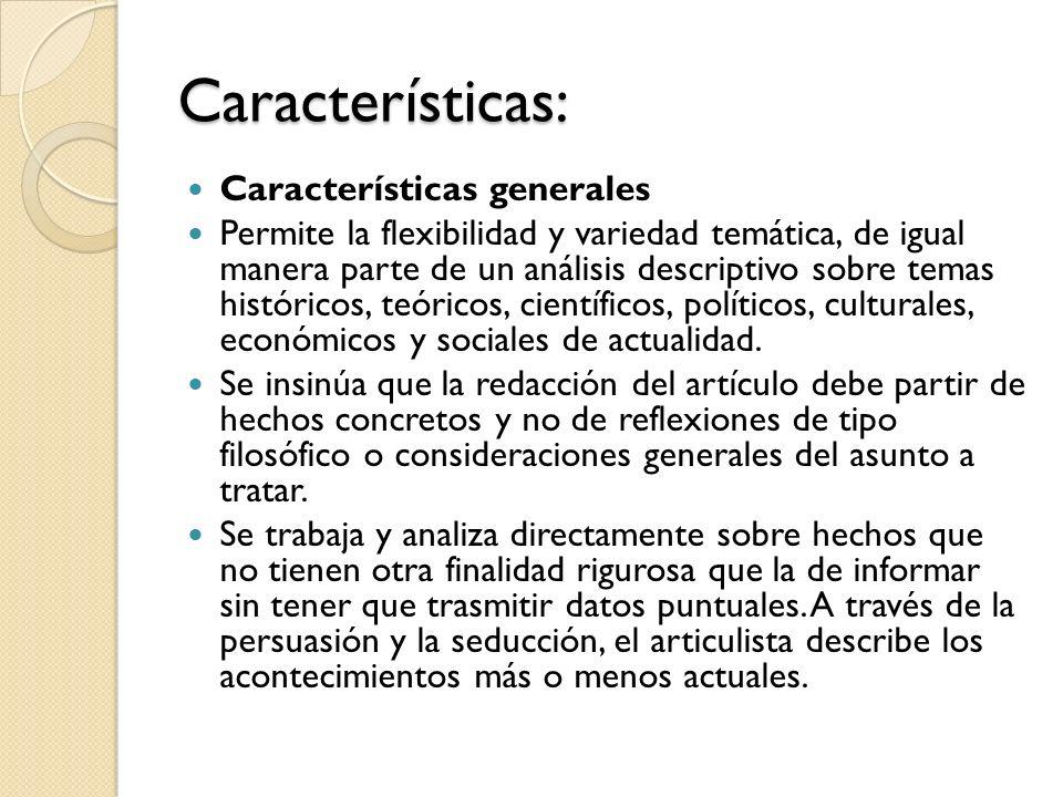 Características: Características generales