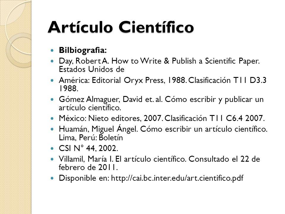 Artículo Científico Bilbiografia: