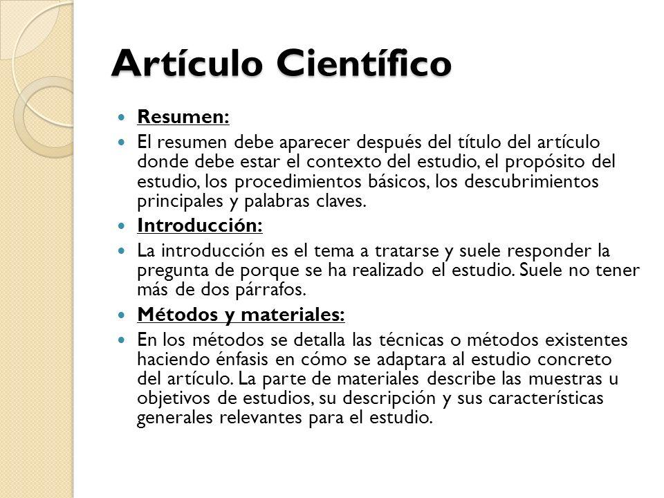 Artículo Científico Resumen: