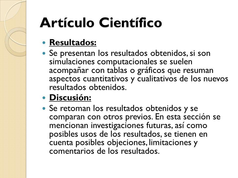 Artículo Científico Resultados: