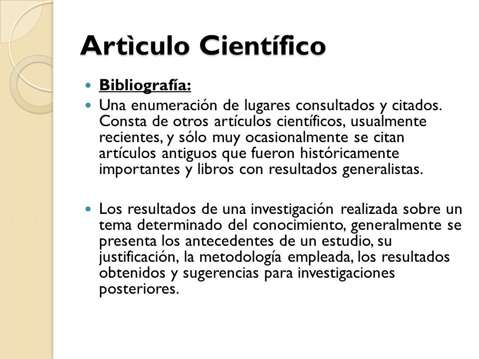Artìculo Científico Bibliografía: