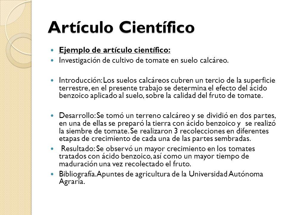 Artículo Científico Ejemplo de artículo científico: