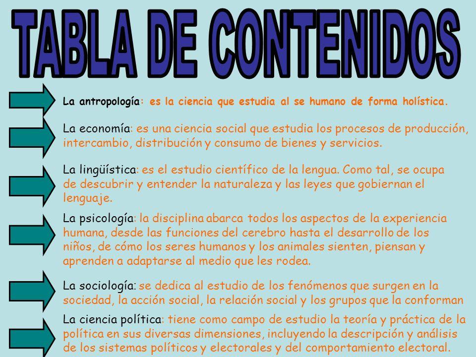 TABLA DE CONTENIDOS La antropología: es la ciencia que estudia al se humano de forma holística.