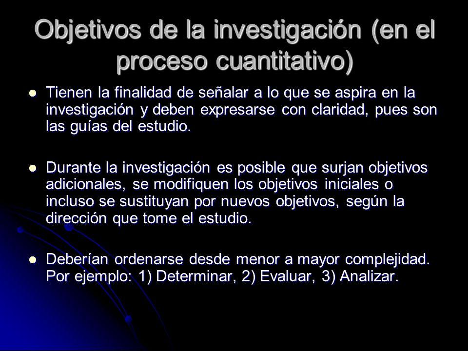 Objetivos de la investigación (en el proceso cuantitativo)