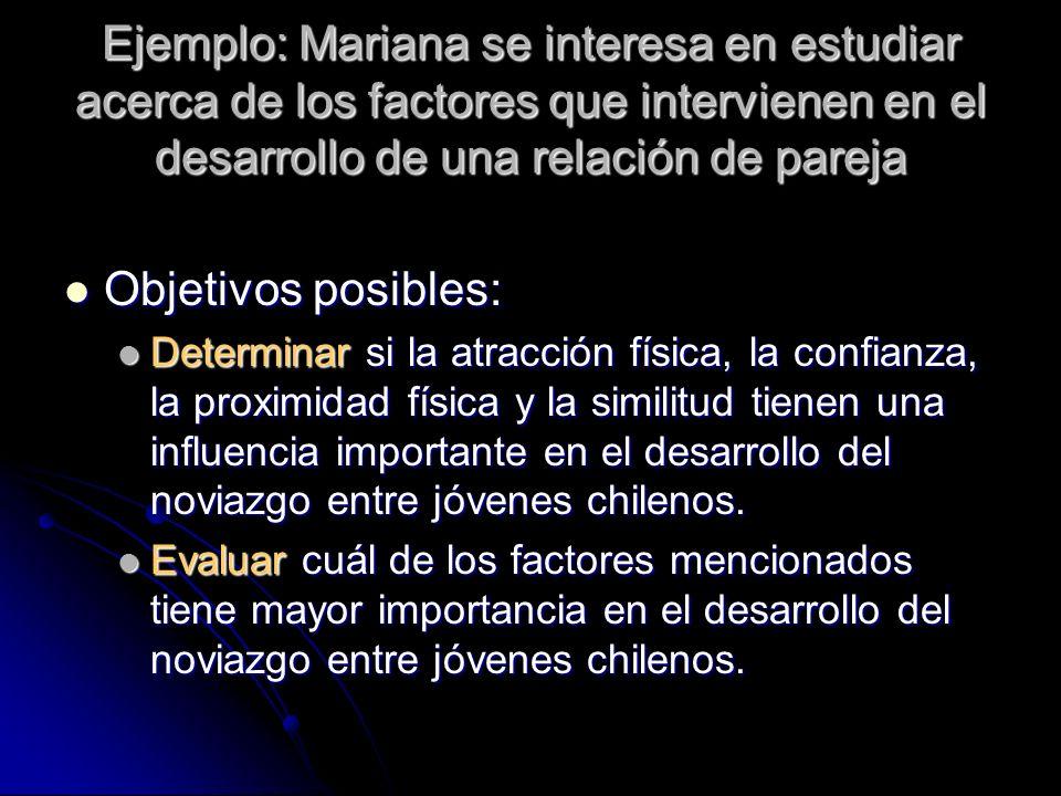 Ejemplo: Mariana se interesa en estudiar acerca de los factores que intervienen en el desarrollo de una relación de pareja