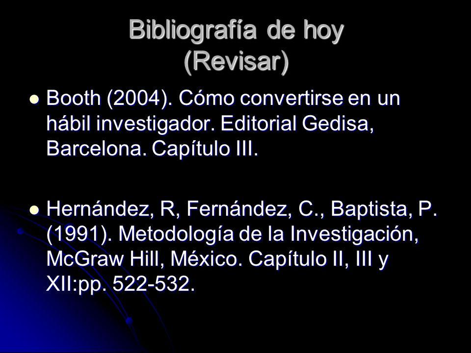 Bibliografía de hoy (Revisar)