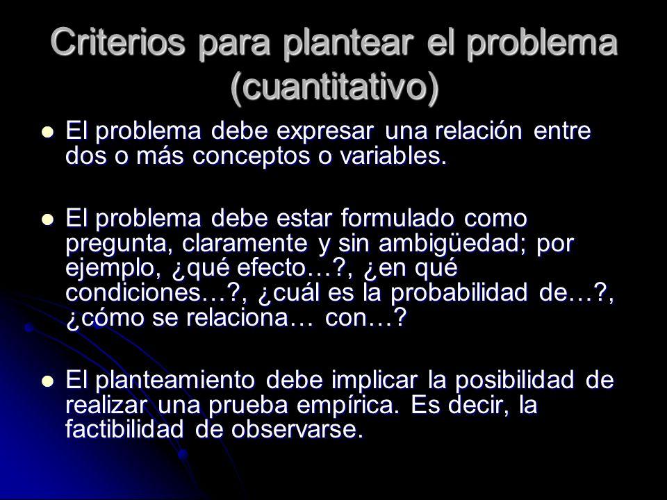 Criterios para plantear el problema (cuantitativo)