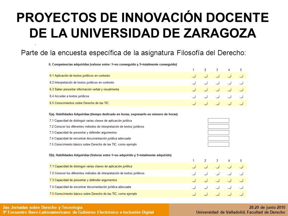 PROYECTOS DE INNOVACIÓN DOCENTE DE LA UNIVERSIDAD DE ZARAGOZA