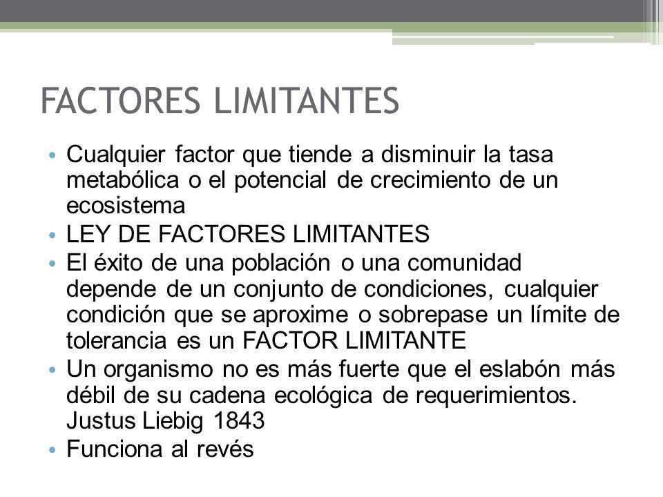 FACTORES LIMITANTES Cualquier factor que tiende a disminuir la tasa metabólica o el potencial de crecimiento de un ecosistema.