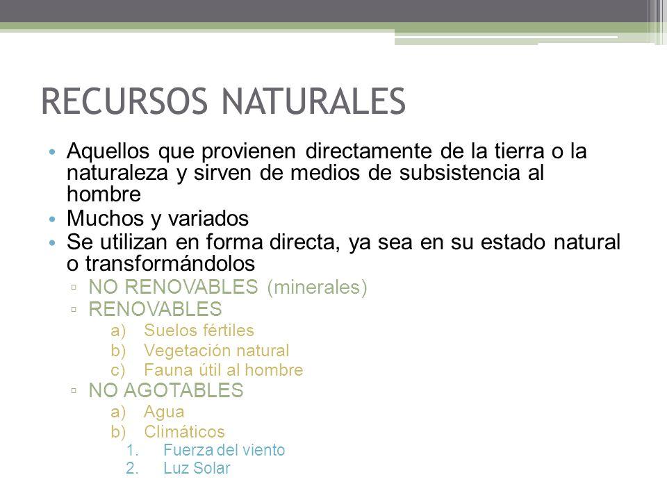 RECURSOS NATURALES Aquellos que provienen directamente de la tierra o la naturaleza y sirven de medios de subsistencia al hombre.