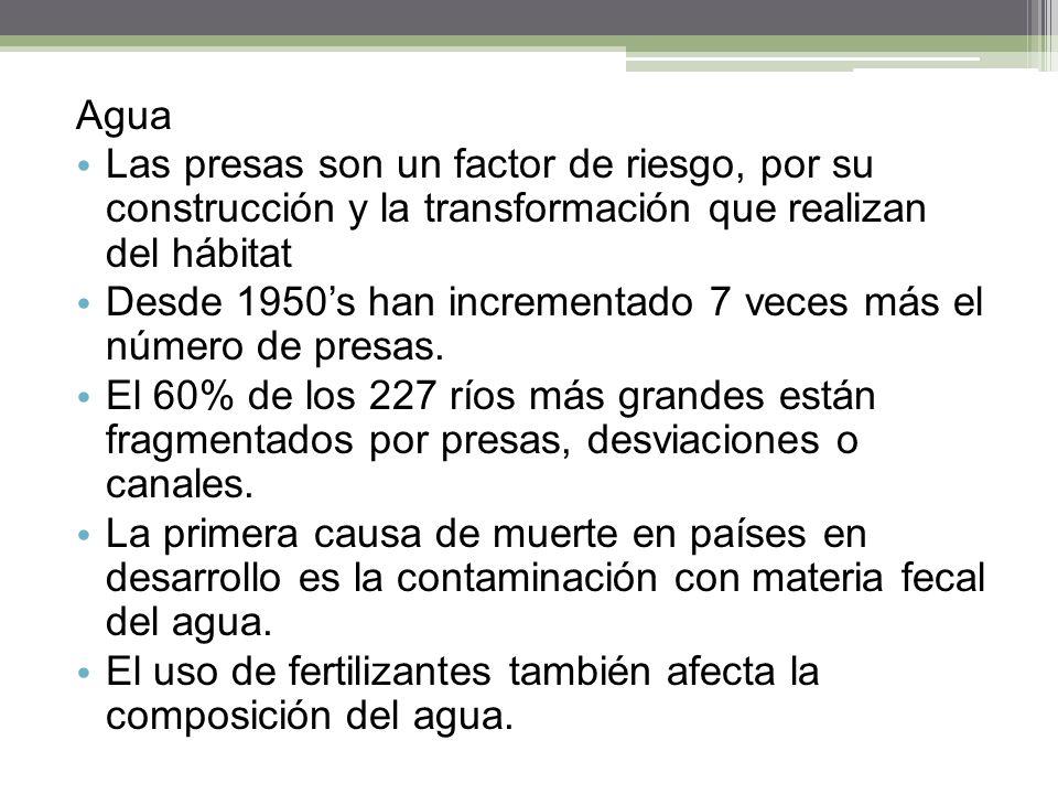 Agua Las presas son un factor de riesgo, por su construcción y la transformación que realizan del hábitat.