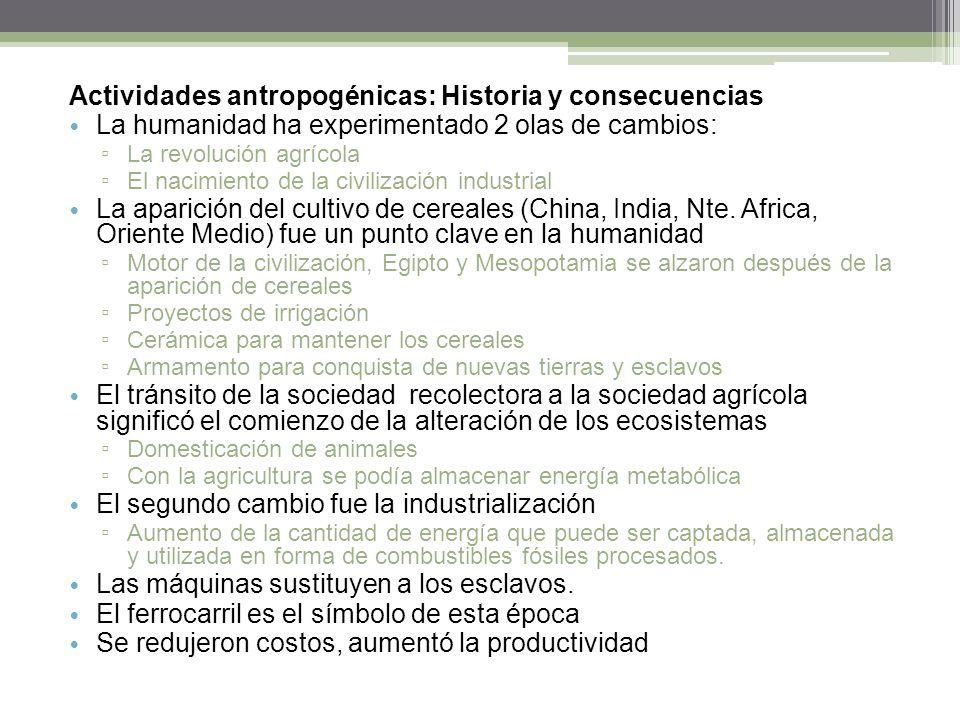 Actividades antropogénicas: Historia y consecuencias