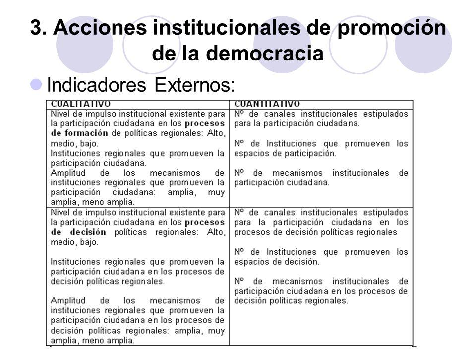 3. Acciones institucionales de promoción de la democracia