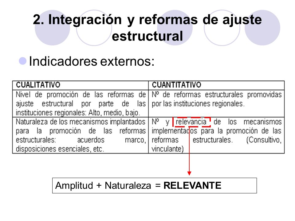 2. Integración y reformas de ajuste estructural