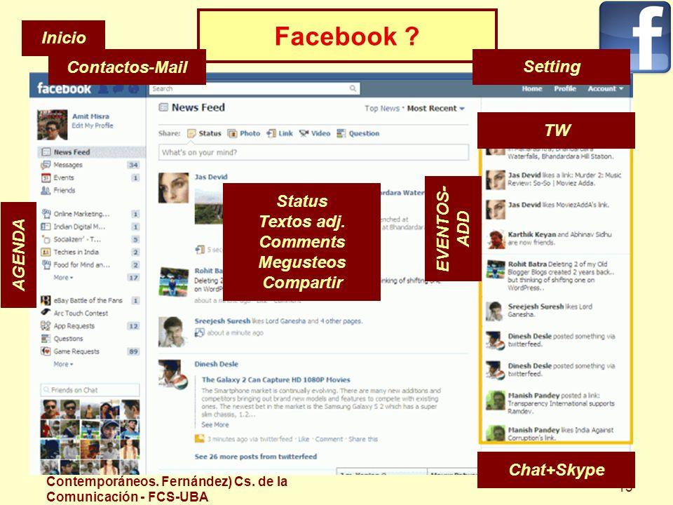 Facebook Inicio Contactos-Mail Setting TW Status EVENTOS-ADD