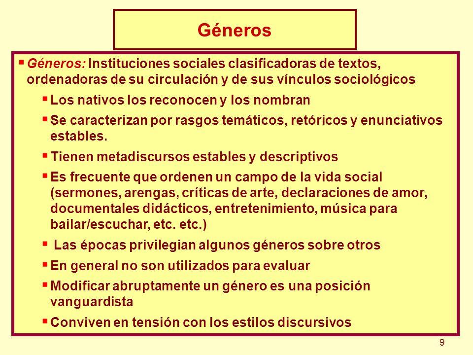 Géneros Géneros: Instituciones sociales clasificadoras de textos, ordenadoras de su circulación y de sus vínculos sociológicos.
